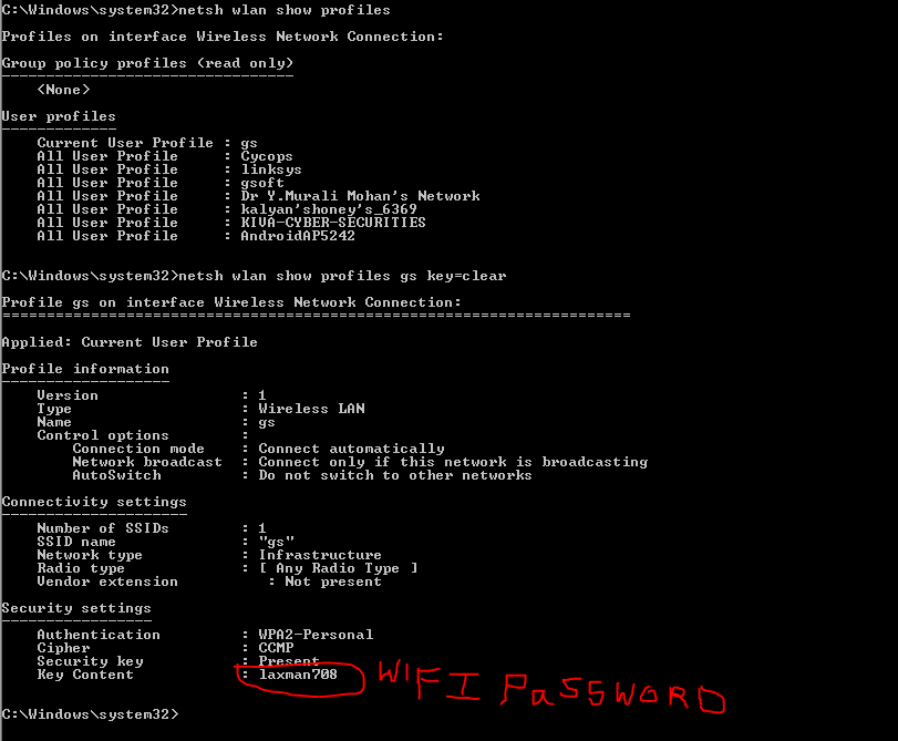 how to see saved passwords of wifi hotspots through command prompt
